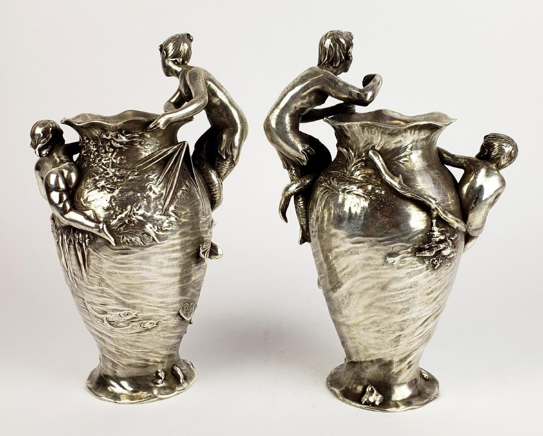Pair of 19th C. Silverplated Figural Vases - 8
