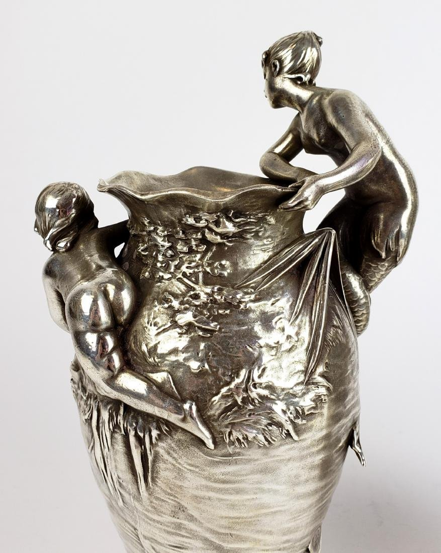 Pair of 19th C. Silverplated Figural Vases - 9