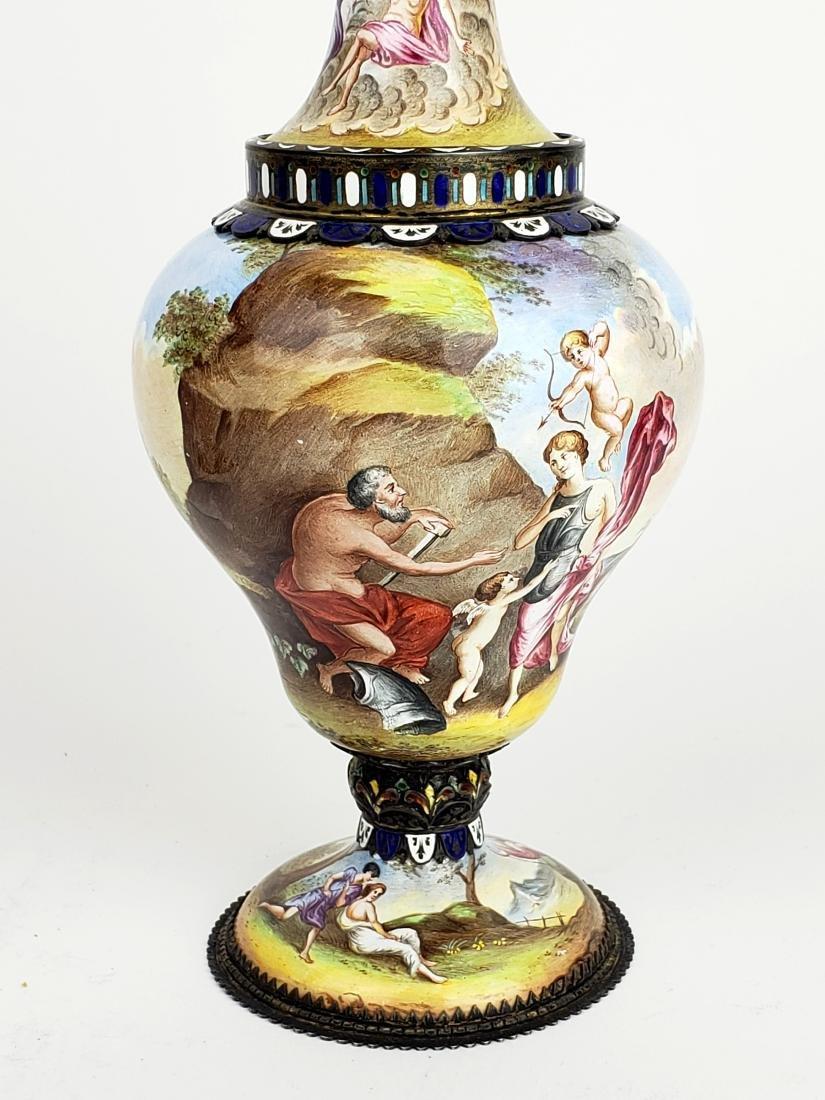 Pair of Large 19th C. Viennese Enamel Vases - 10