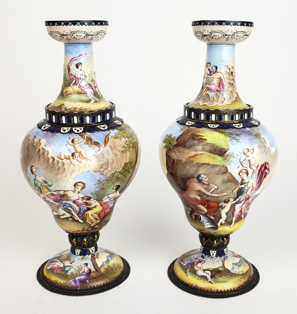 Pair of Large 19th C. Viennese Enamel Vases