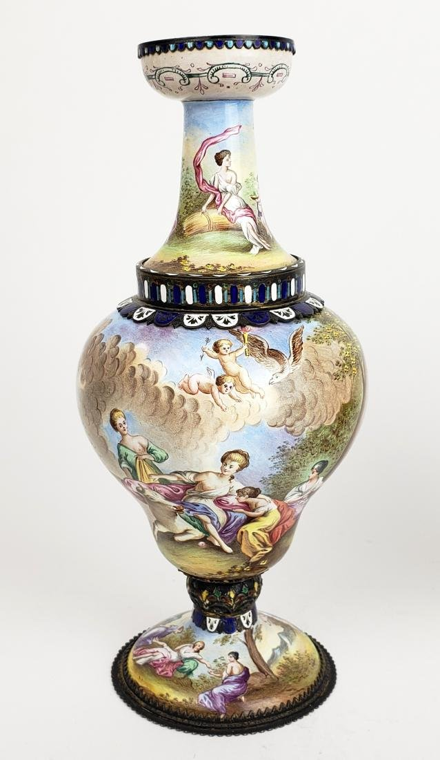Pair of Large 19th C. Viennese Enamel Vases - 2