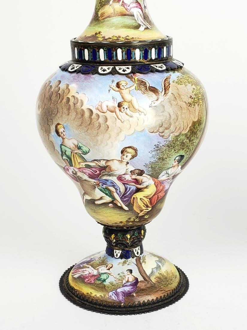 Pair of Large 19th C. Viennese Enamel Vases - 3