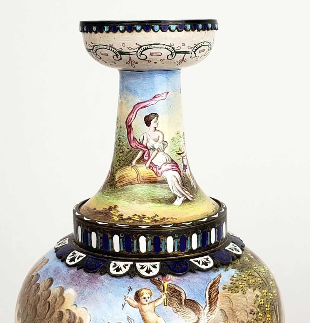 Pair of Large 19th C. Viennese Enamel Vases - 4