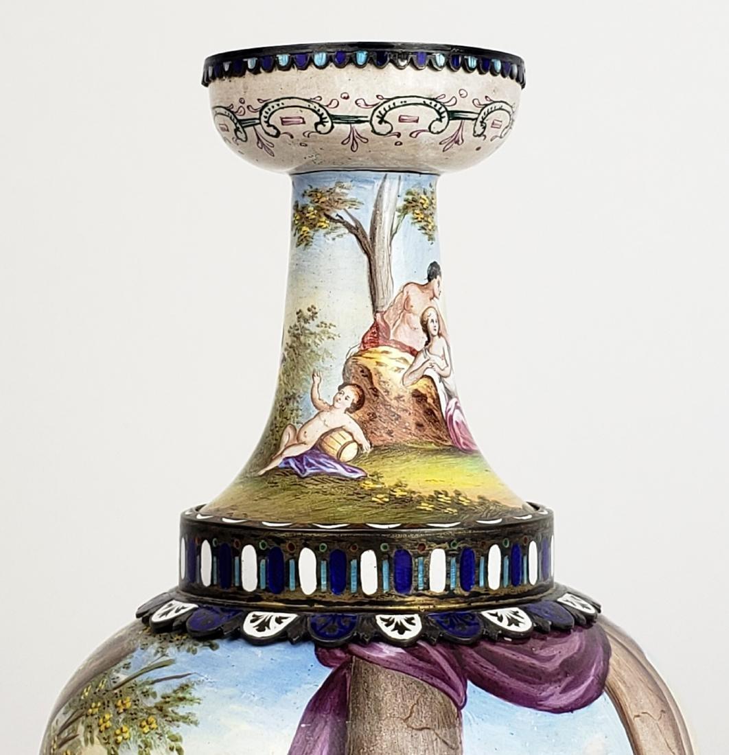 Pair of Large 19th C. Viennese Enamel Vases - 6