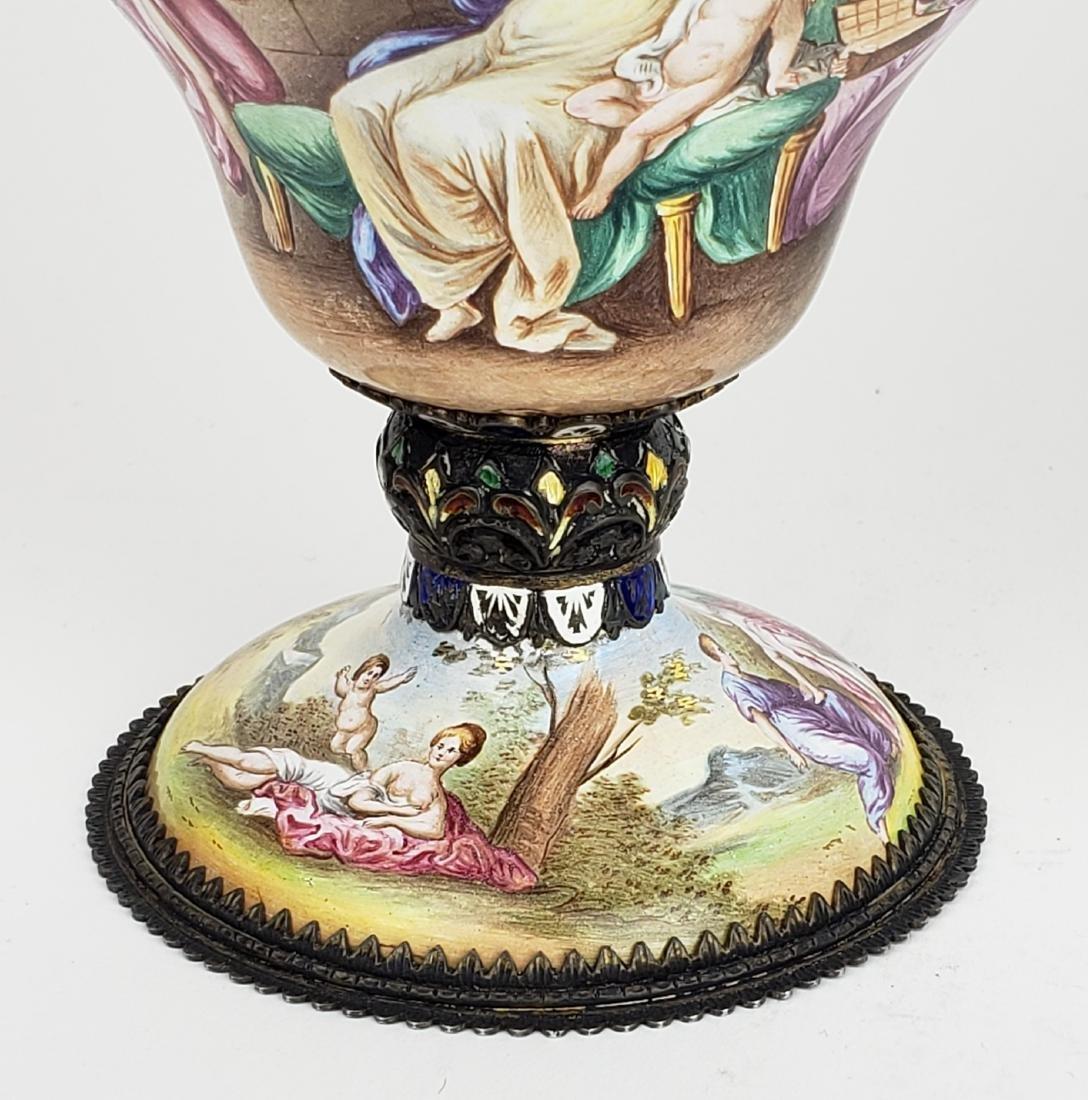Pair of Large 19th C. Viennese Enamel Vases - 7