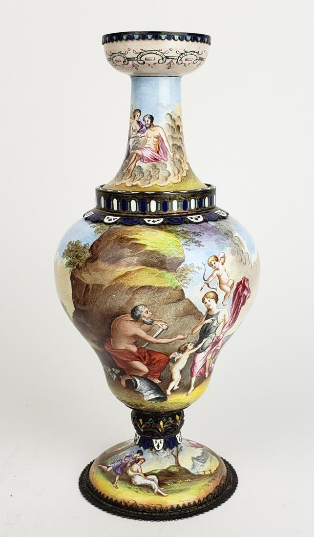 Pair of Large 19th C. Viennese Enamel Vases - 9