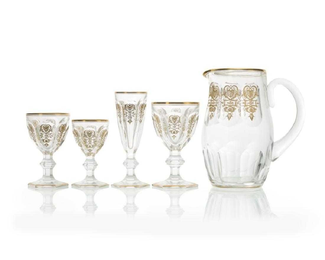 """61 Pc. Set of Baccarate Gilt Crystal """"Empire"""" Glassware"""