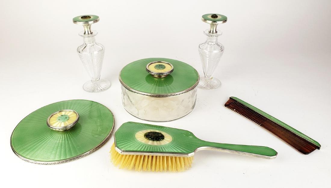 6 Pc. Enamel, Sterling Silver, & Jade Vanity Set