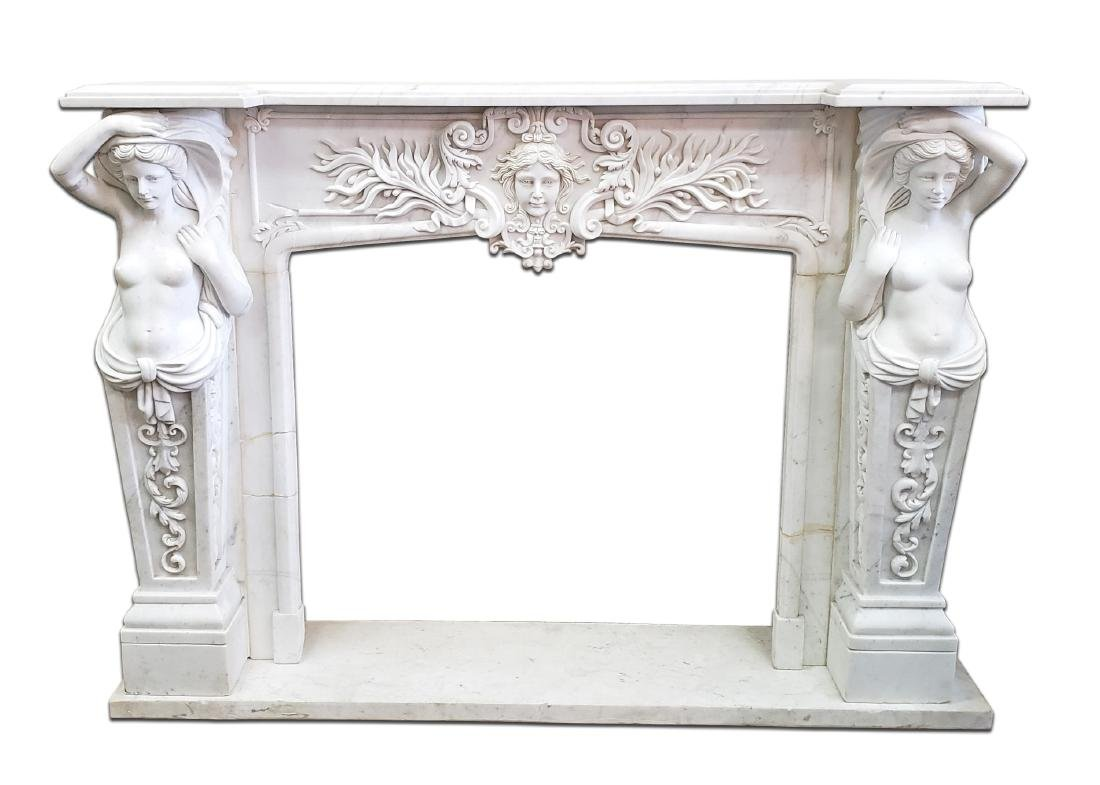 Magnificent 19th C. Figural Italian Marble Fireplace