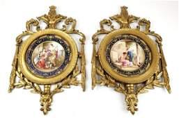 Pair of Magnificent 19th C Framed Sevres Porcelain