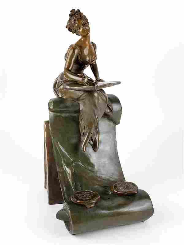 Magnificent 19th C. Art Noveau Bronze Statue Inkwell