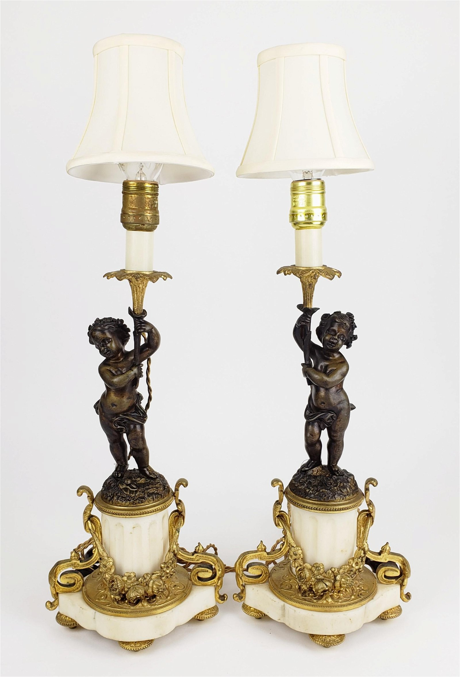 Magnificent Pair of 19th C. French Bronze & Marble