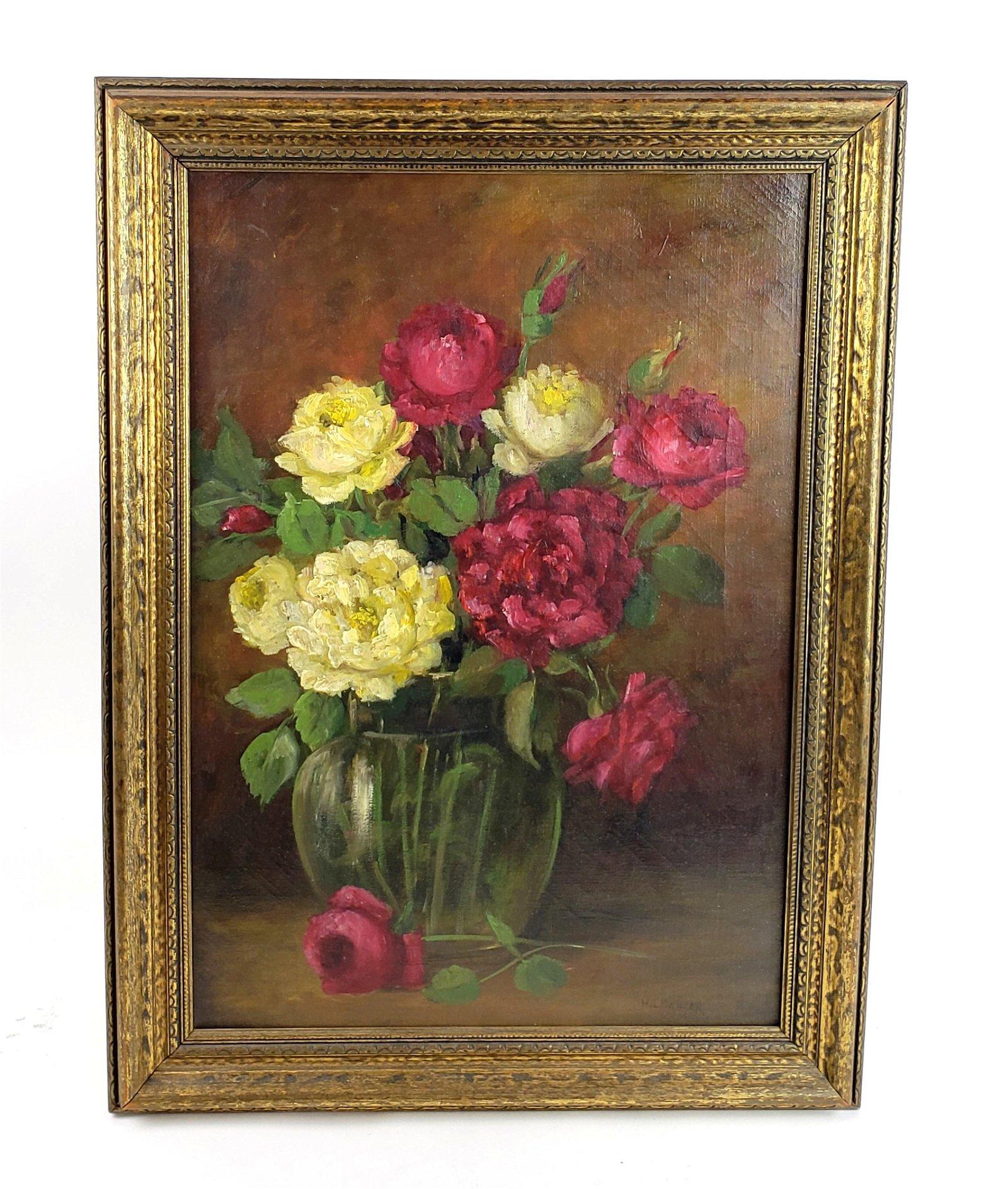 "19th C. H.L. Sawyer ""Still Life Fruit"" Oil on Canvas"