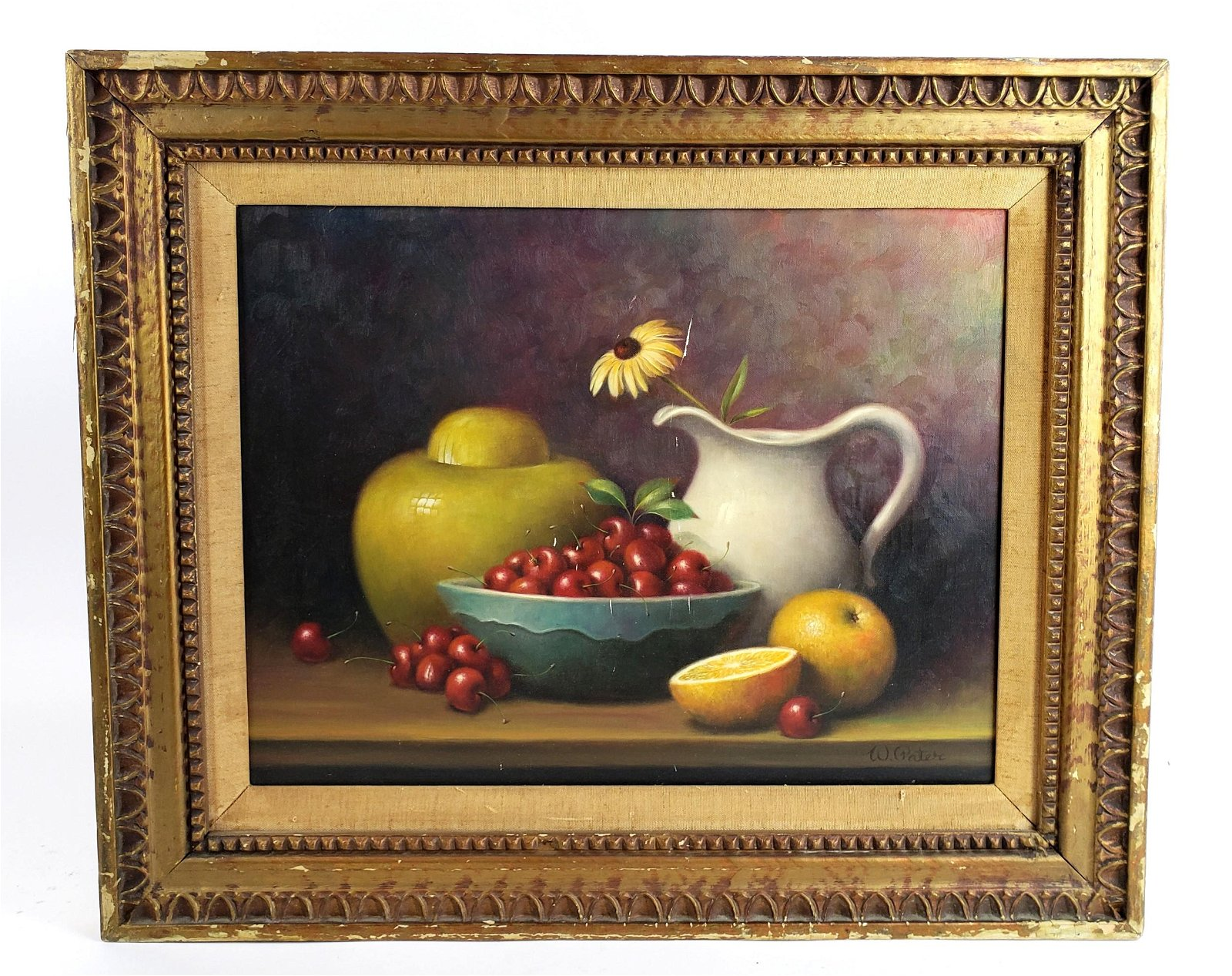 """W. Pater """"Still Life Fruit"""" Oil on Canvas"""