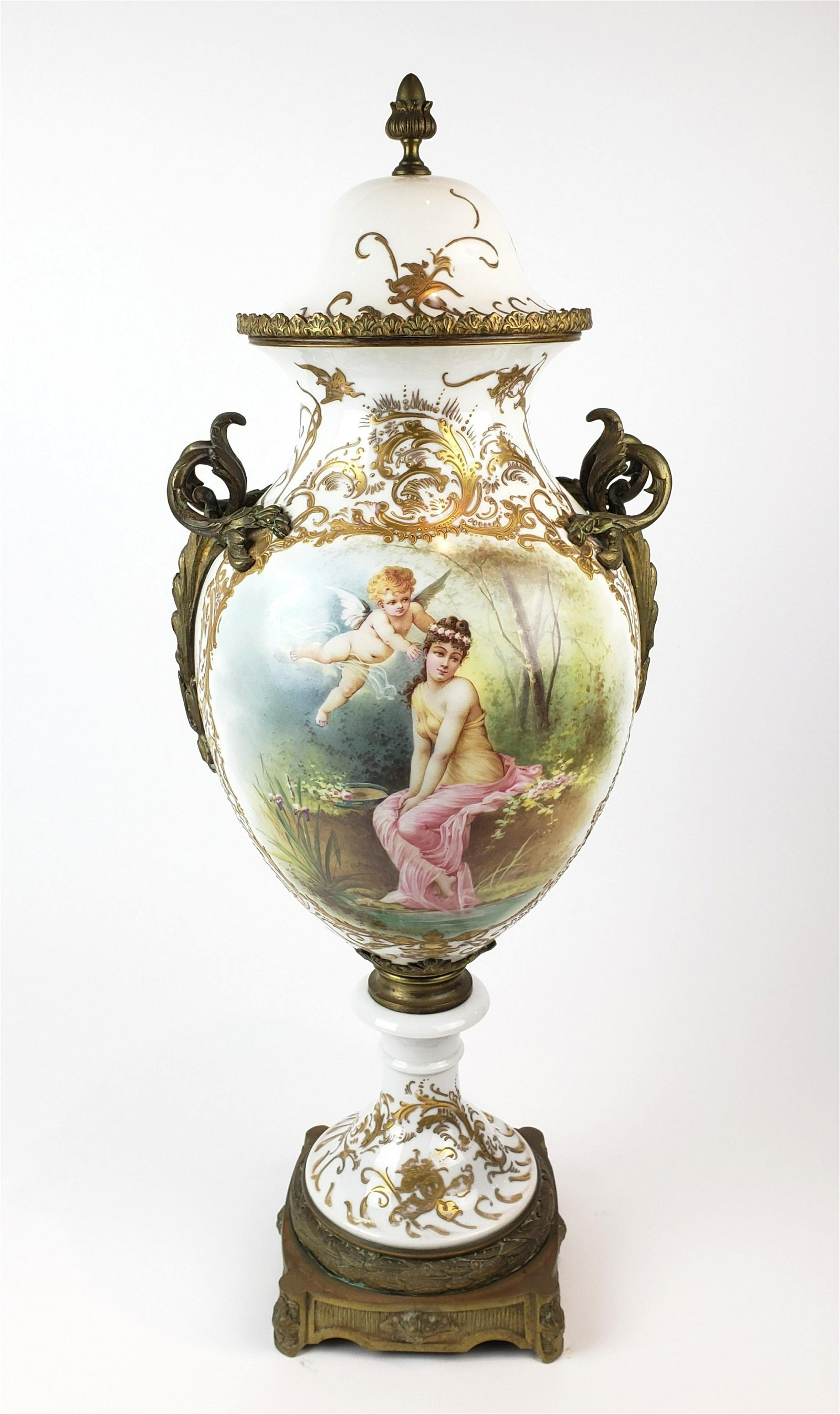 Large 19th C. French Sevres Porcelain & Bronze Vase w/