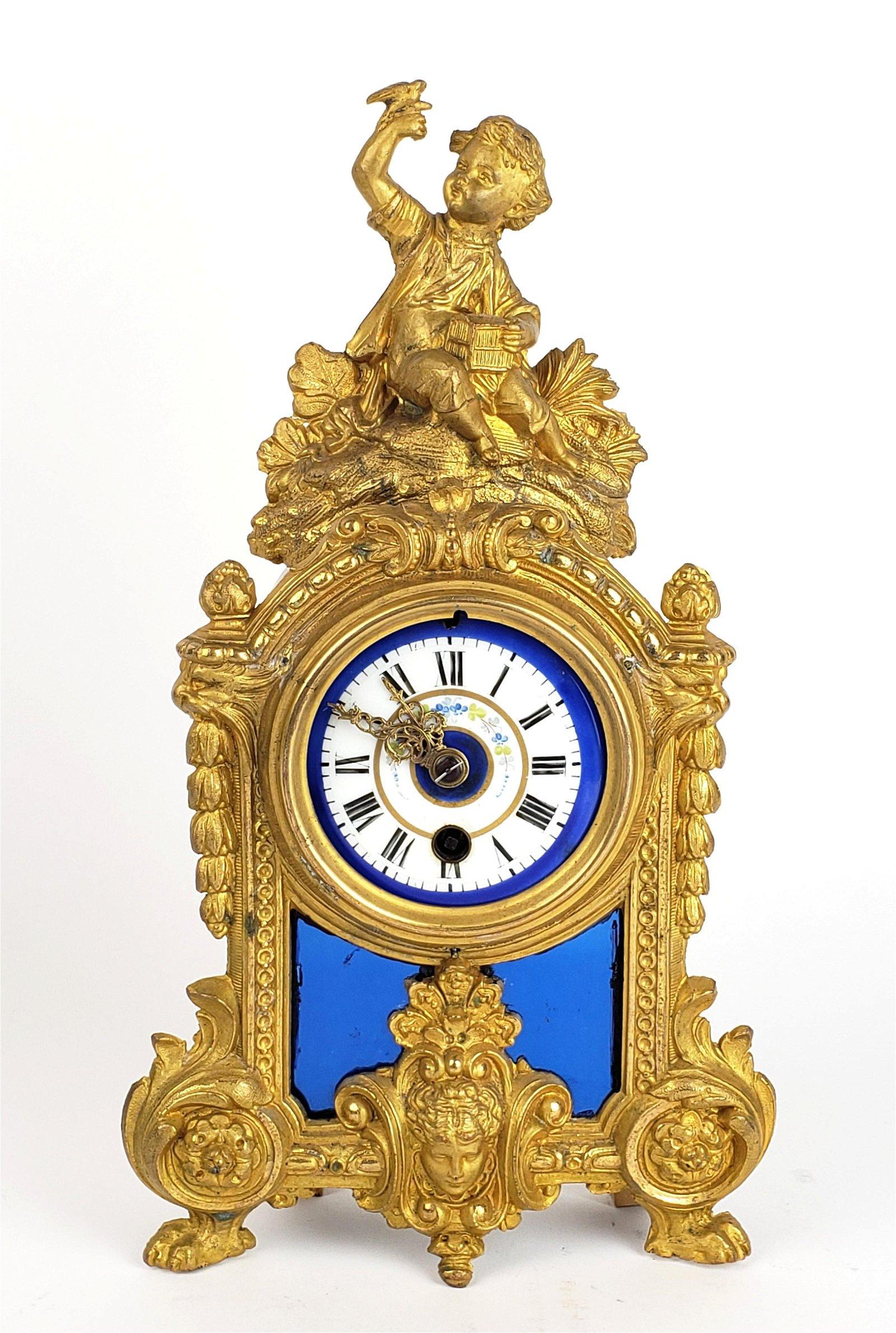 French Figural Bronze & Porcelain Mantle Clock