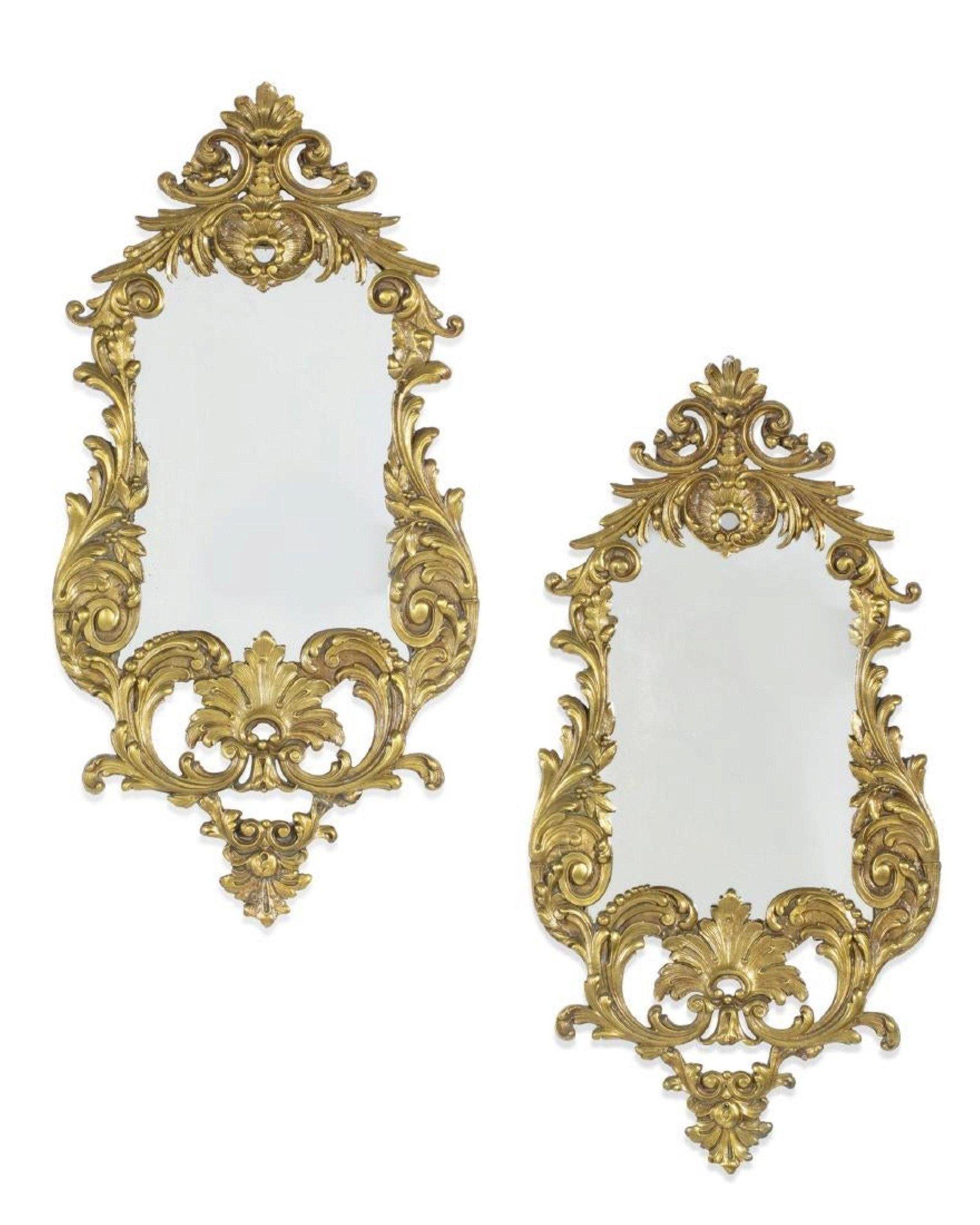 Pair of Louis XV Style Gilt Bronze Mirrors