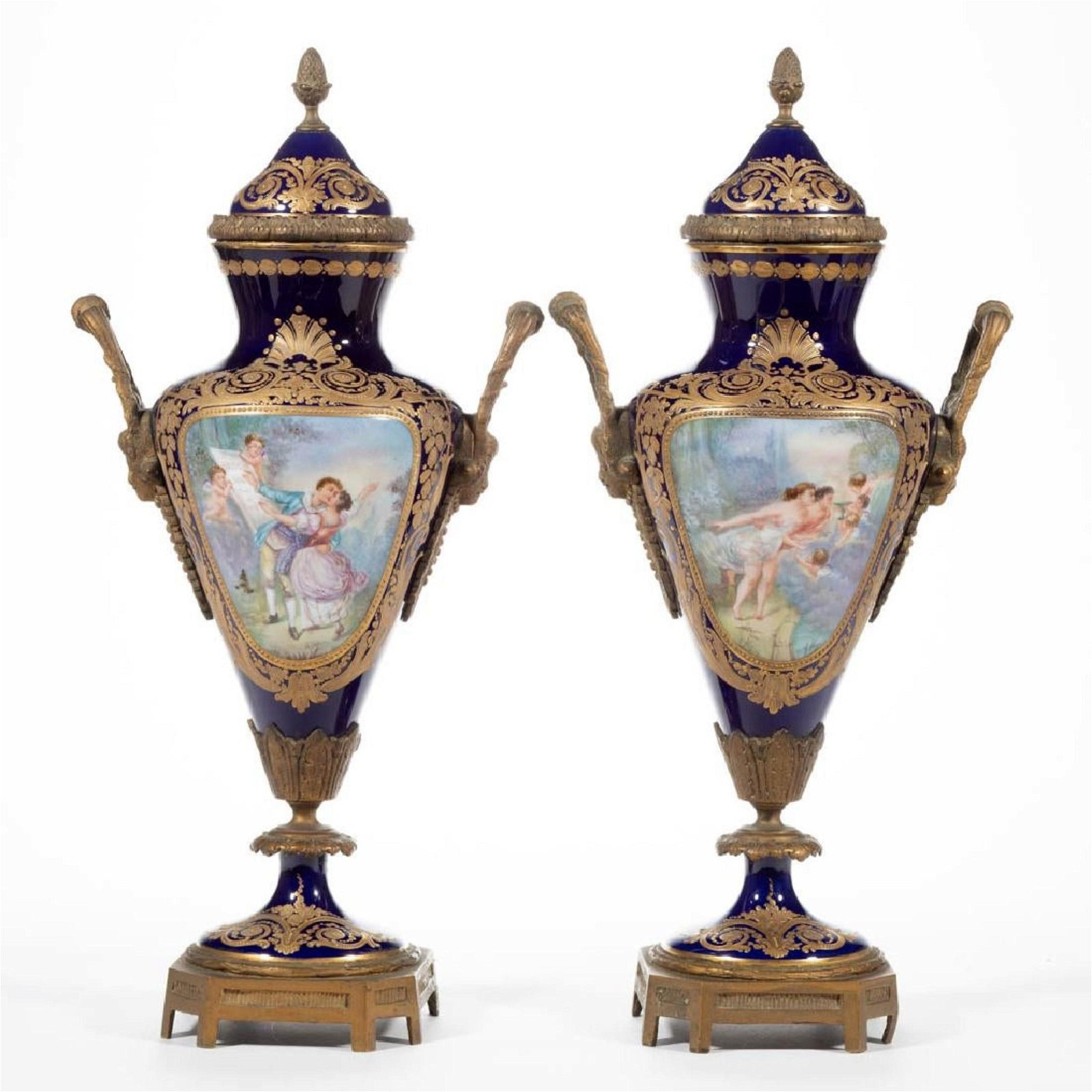 Pair of 19th C. Sevres Porcelain & Bronze Covered Urns