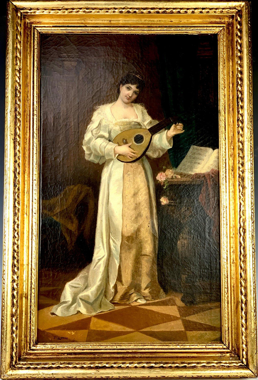 """John Califano (1862-1946) """"Lady with Mandolin"""""""