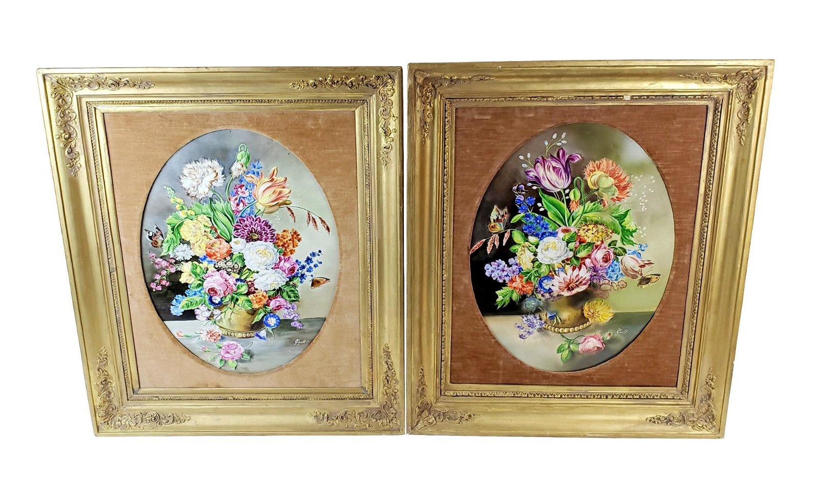 Pair of 19th C. KPM Floral Porcelain Plaques Signed J.