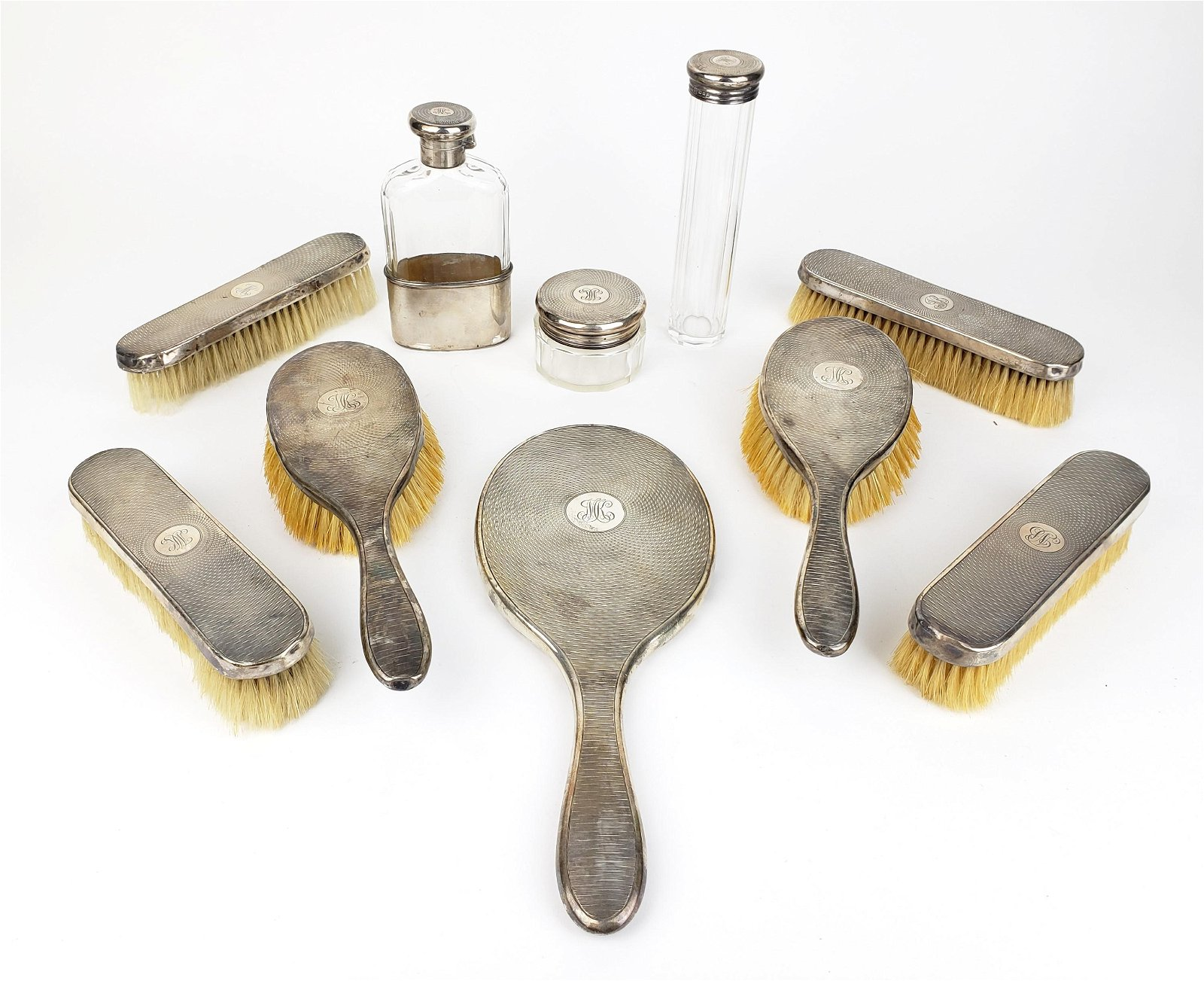 10 Pc. Sterling Silver & Glass Salon Set