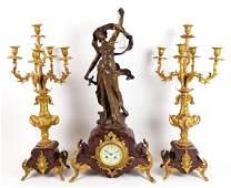 19th C. Aug. Moreau 3 Pc. Figural Bronze & Rouge Marble
