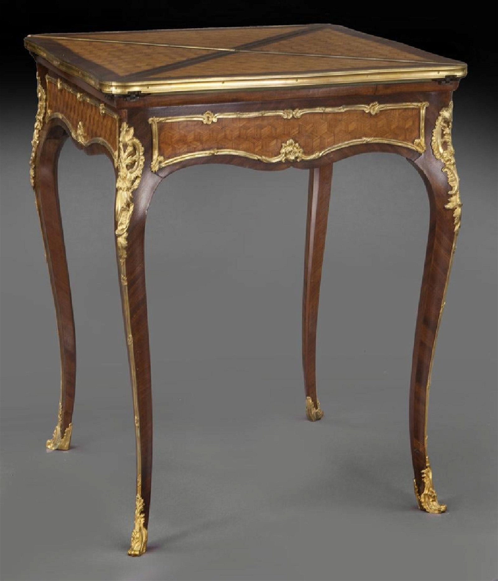 19th C. F. Linke Kingwood Envelope Table w/ Bronze