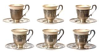 Set of 6 Lenox Demitasse Cups  Saucers