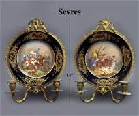 19th C. Sevres Hand Painted Porcelain & Bronze Sconces