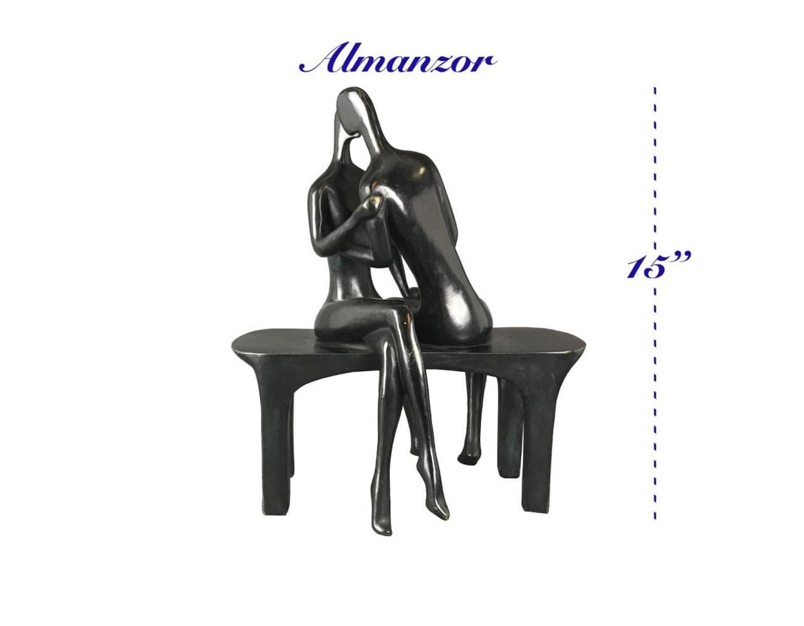 Solid Heavy Patinated Bronze Love Statue by Almanzor,