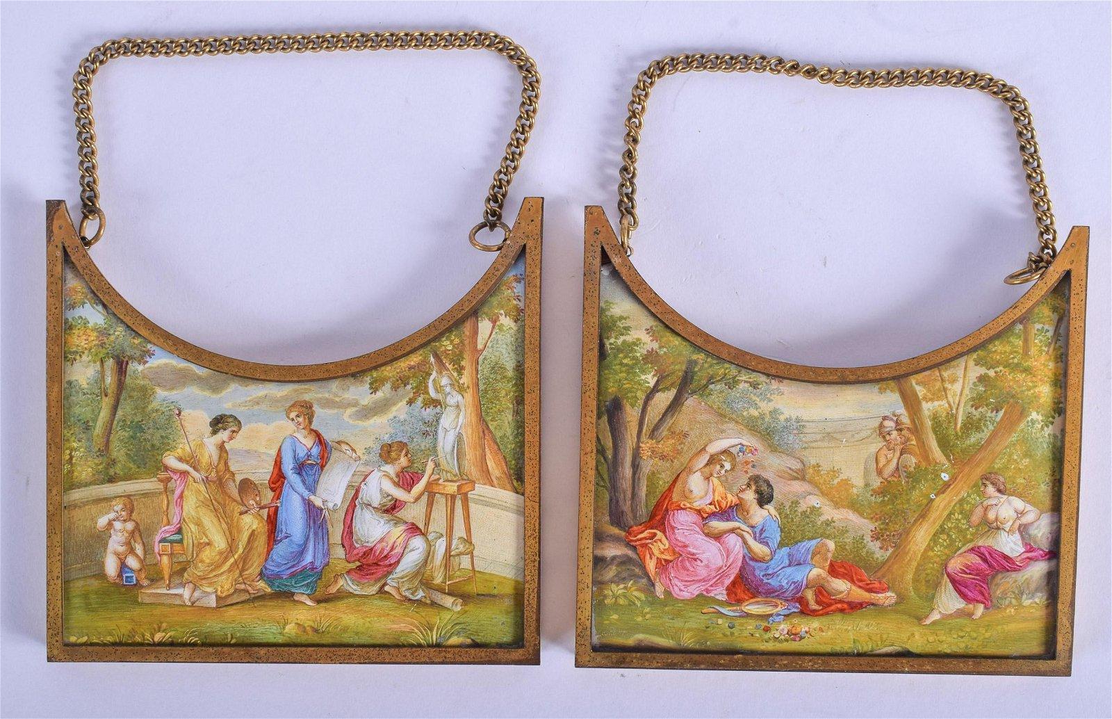 Pair of 19th C. Viennese Enamel Austrian Plaques