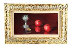 """Magnificent T. Amiry Oil on Canvas """"Still Life Fruits"""","""