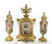 19th C. French Chinoiserie Bronze & Porcelain Clock Set
