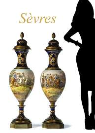 Magnificent Large Pair of 19th C. Sevres Porcelain Gilt