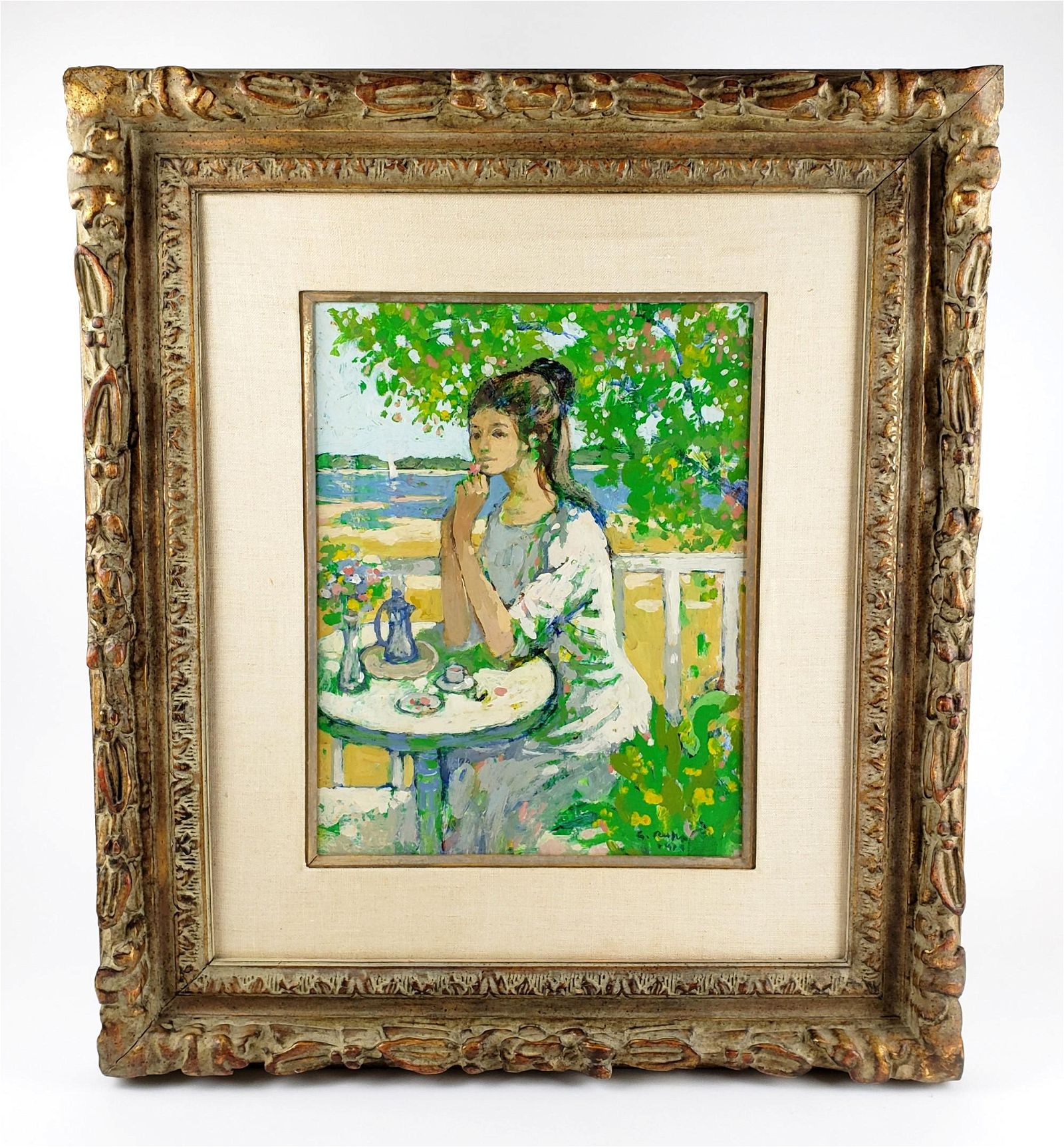 """French Oil on Board """"Girl in the Garden"""" Signed Guy"""