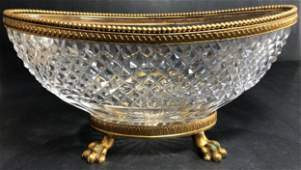 19th C French Baccarat Crystal and Bronze Mounted Bowl