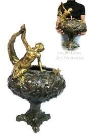 Large Late 19th C. Art Nouveau Bronze Vase
