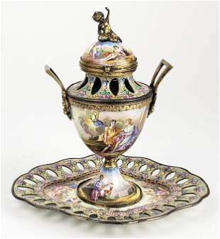19th C. Viennese Enamel on Silver Judaica Centerpiece