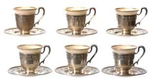 Set of 6 Lenox Demitasse Cups & Saucers