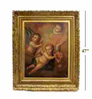 18th C. Large Italian Religious Oil on Canvas Painting