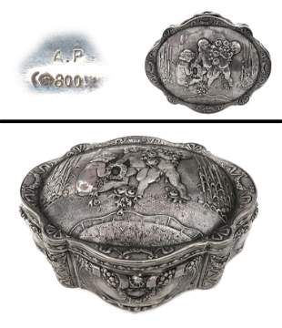 19th C English Silver 800  Jewelry Box
