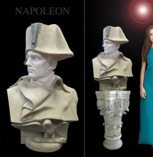 Monumental 19th C. French Marble Bust of Napoleon