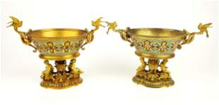 Pair of 19th C. French Champleve Enamel & Bronze