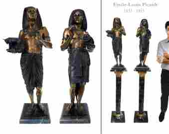 19th C. Pair of Patinated Bronze Figural Sculpture by