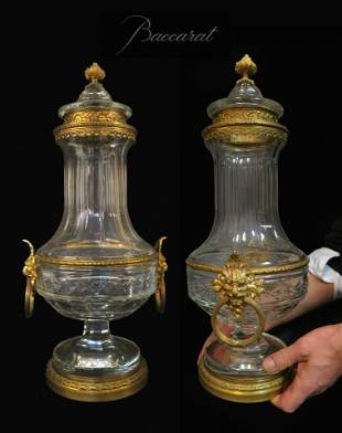 Large 19th C. Pair Baccarat Crystal Bronze Mounted Urns