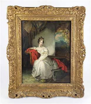"""19th C. Oil on Board """"Portrait of Queen Adelaide"""""""