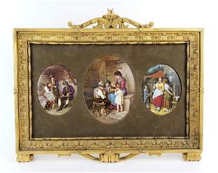 19th C. Framed Set of 3 German Porcelain Plaques