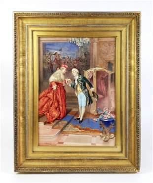19th C. Watercolor Signed Umberto Cacciarelli (Italian