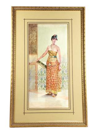 19th C. Orientalist Watercolor of Woman Signed