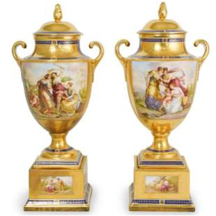 Pair of Large 19th C. Royal Vienna Porcelain Urns